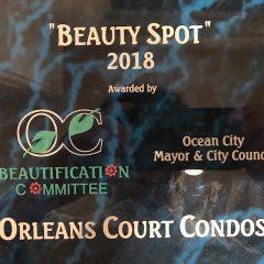 2018, 2016, 2014, 2011 Ocean City Beauty Spot Awards for Orleans Court!