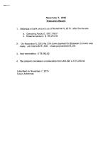 November 7 Treasurer's Report