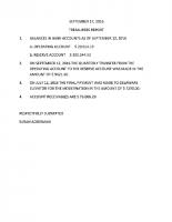 September 17 Treasurer's Report