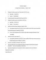 May 20 Treasurer's Report