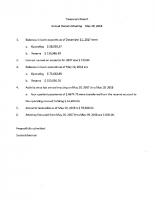 May 19 Treasurer's Report